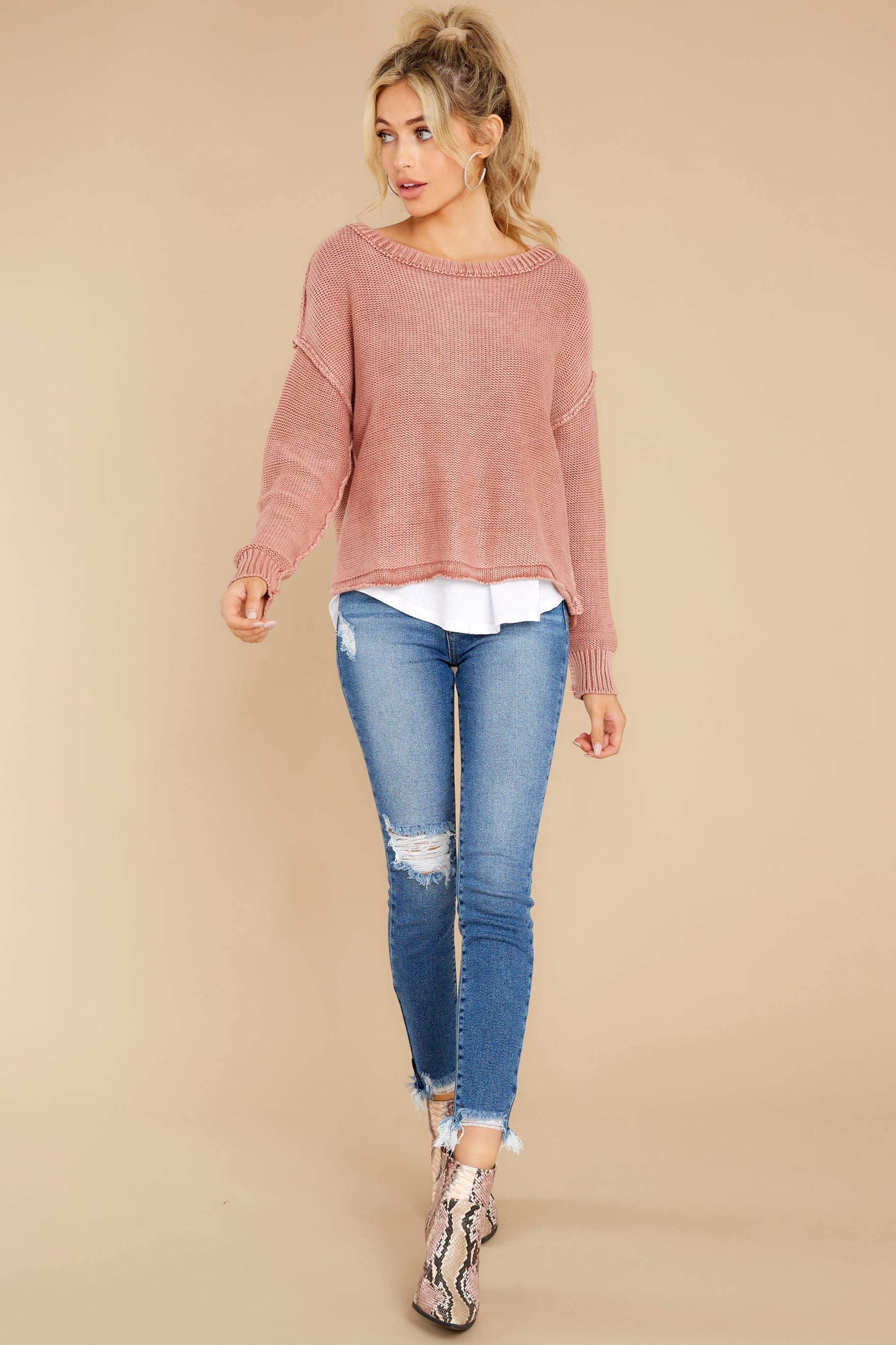 3 All Your Love Dusty Rose Sweater at reddress.com