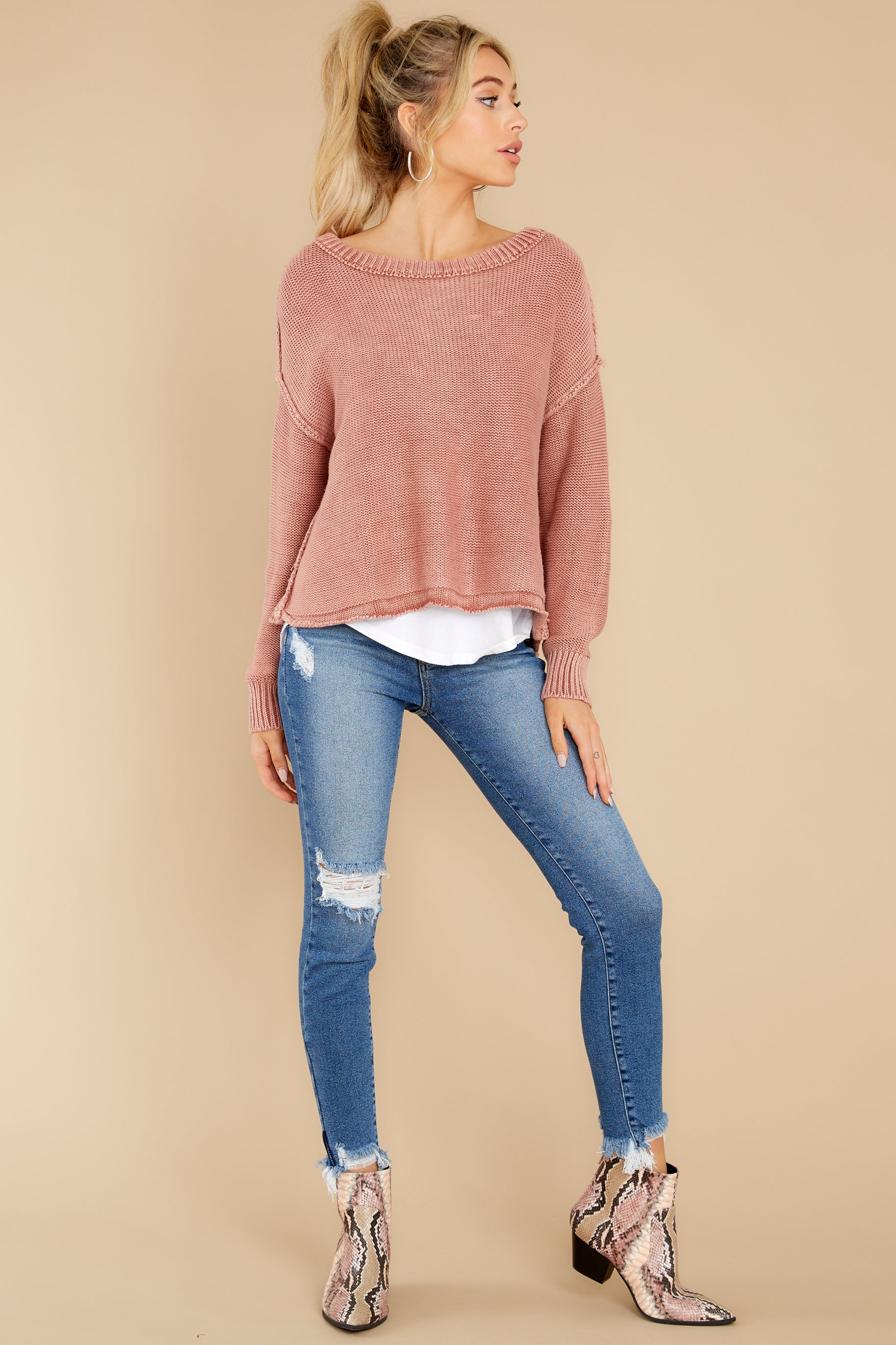 4 All Your Love Dusty Rose Sweater at reddress.com