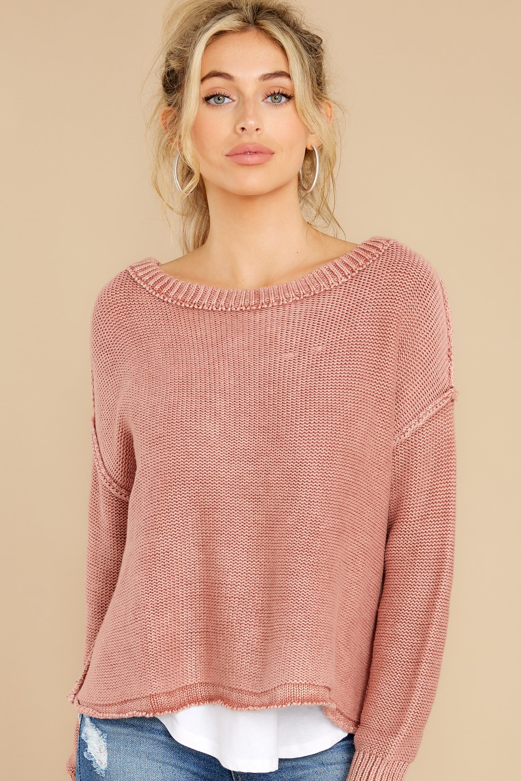 6 All Your Love Dusty Rose Sweater at reddress.com