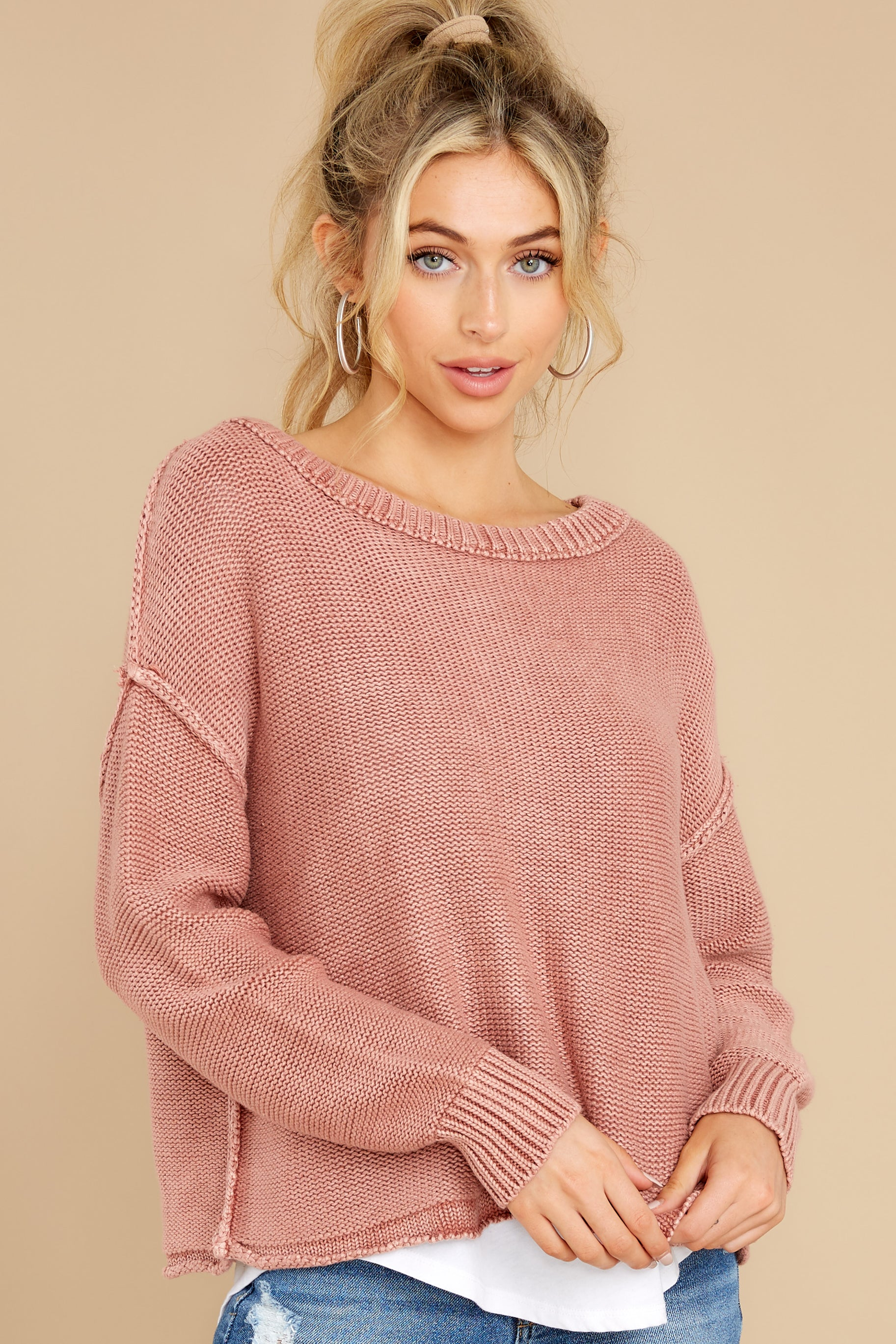 1 All Your Love Dusty Rose Sweater at reddress.com