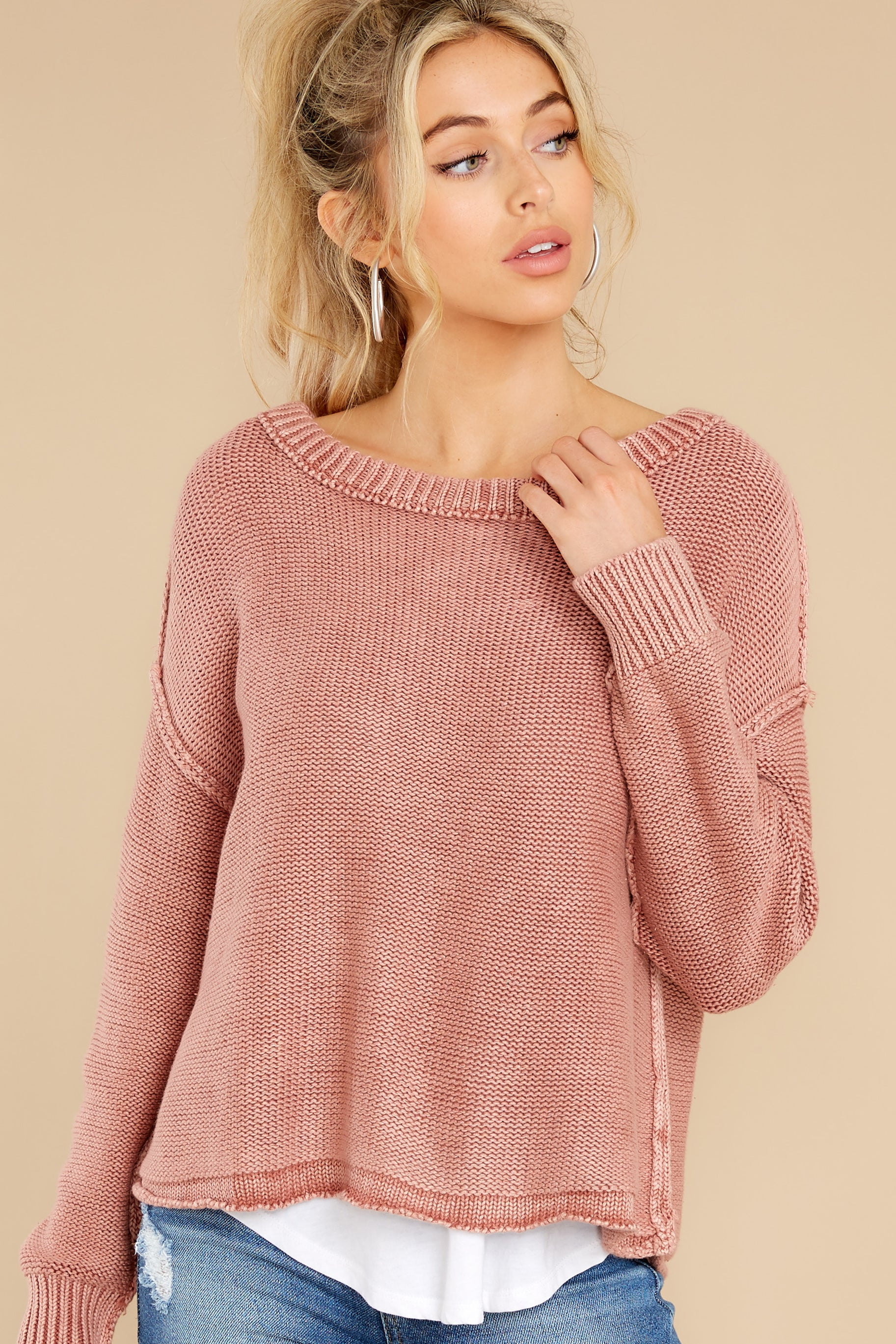 7 All Your Love Dusty Rose Sweater at reddress.com
