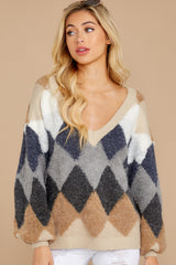 4 Drawing Conclusions Tan Multi Sweater at reddressboutique.com