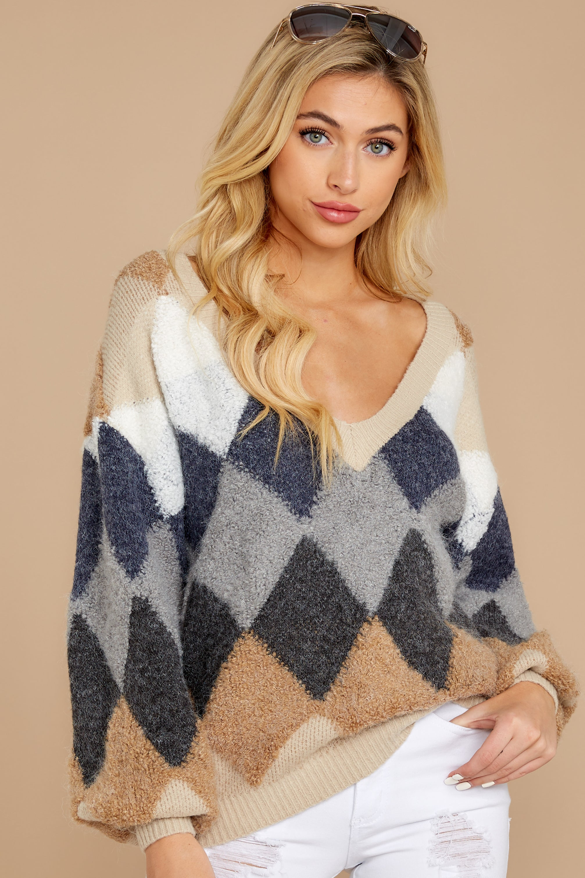 5 Drawing Conclusions Tan Multi Sweater at reddressboutique.com