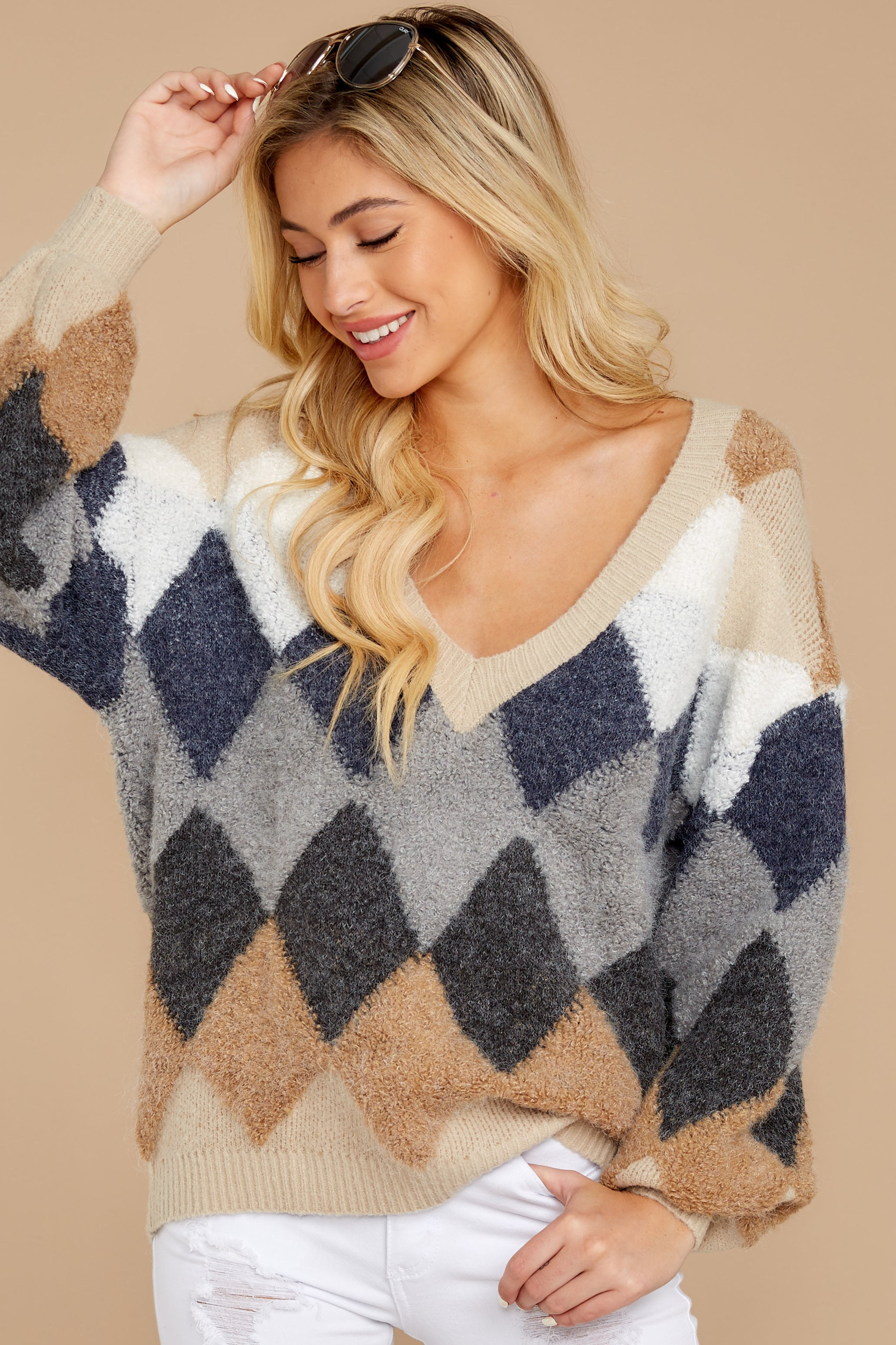 6 Drawing Conclusions Tan Multi Sweater at reddressboutique.com