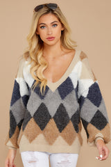 7 Drawing Conclusions Tan Multi Sweater at reddressboutique.com