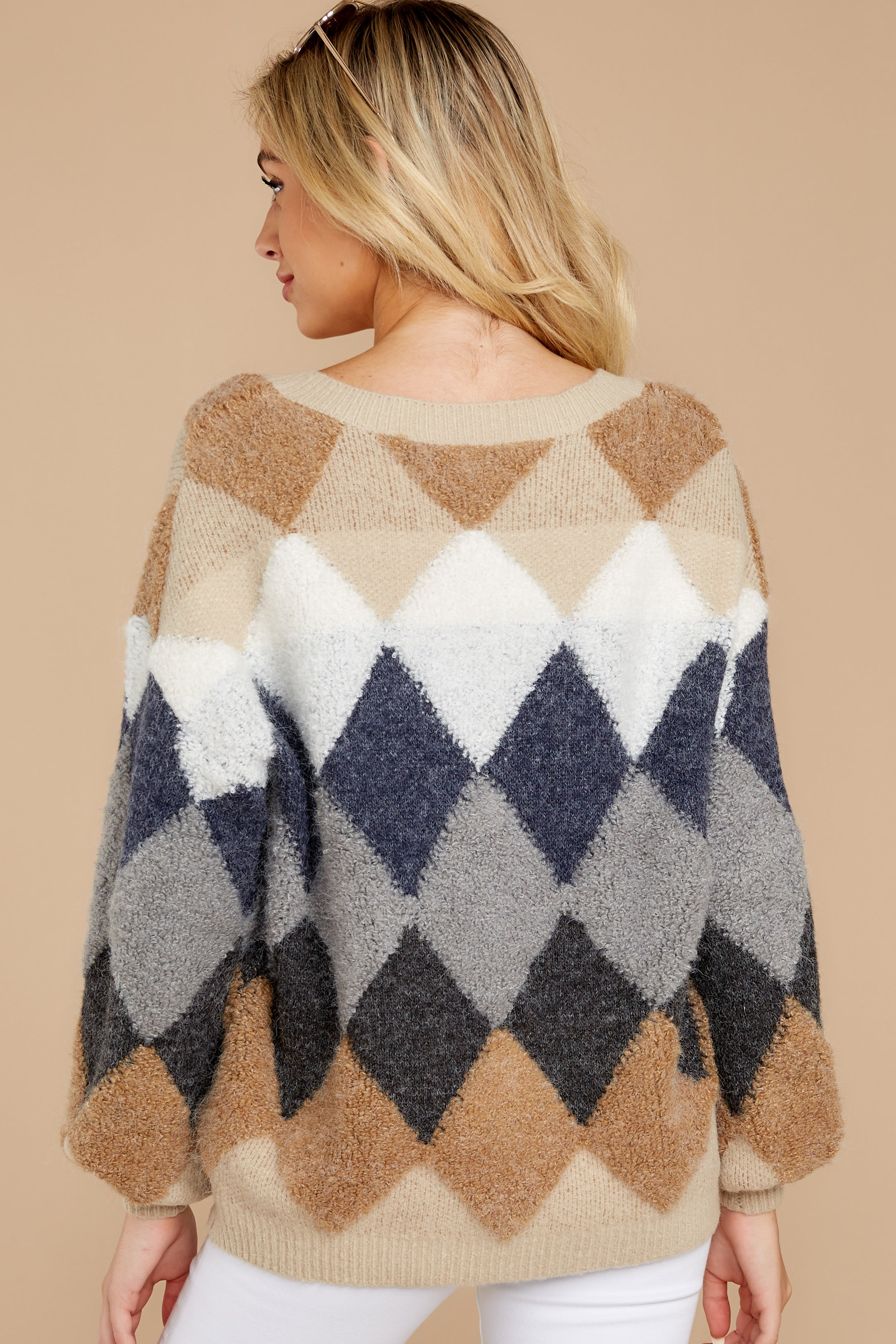 8 Drawing Conclusions Tan Multi Sweater at reddressboutique.com
