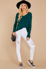 2 Through The Window Hunter Green Sweater at reddressboutique.com