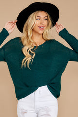 4 Through The Window Hunter Green Sweater at reddressboutique.com