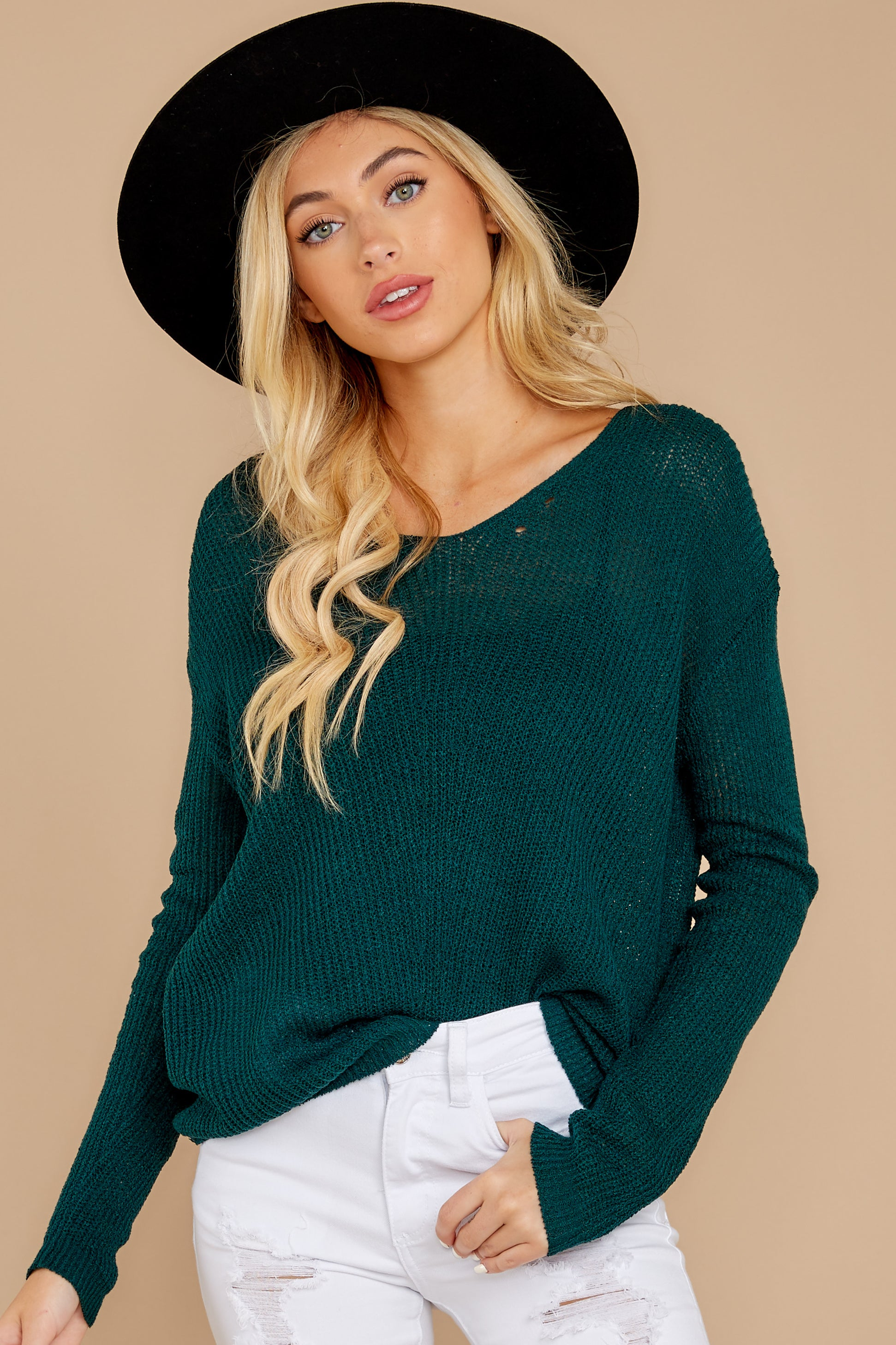 5 Through The Window Hunter Green Sweater at reddressboutique.com