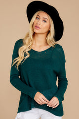8 Through The Window Hunter Green Sweater at reddressboutique.com