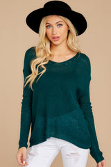 7 Through The Window Hunter Green Sweater at reddressboutique.com