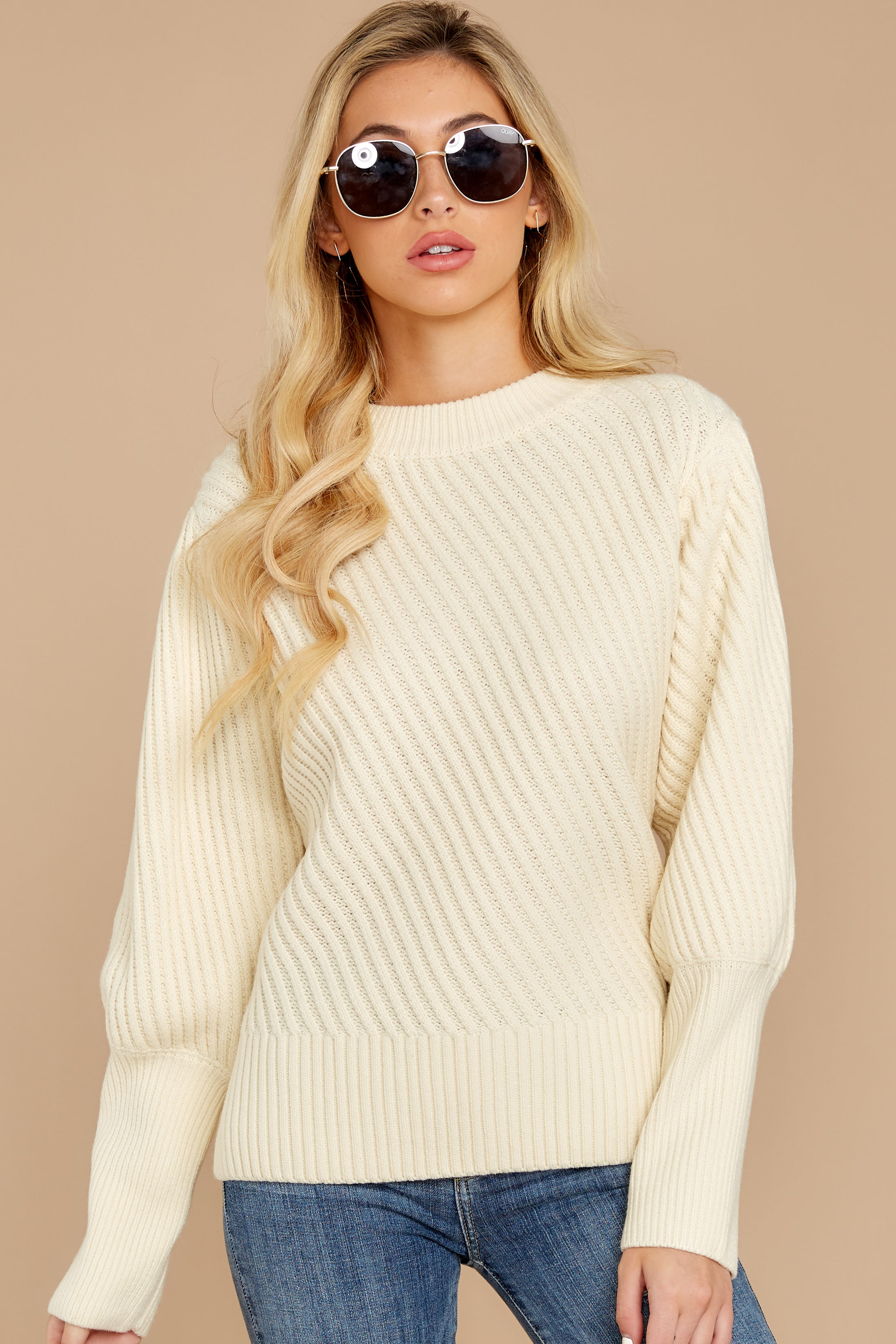 6 My Best Angle Ivory Sweater at reddressboutique.com