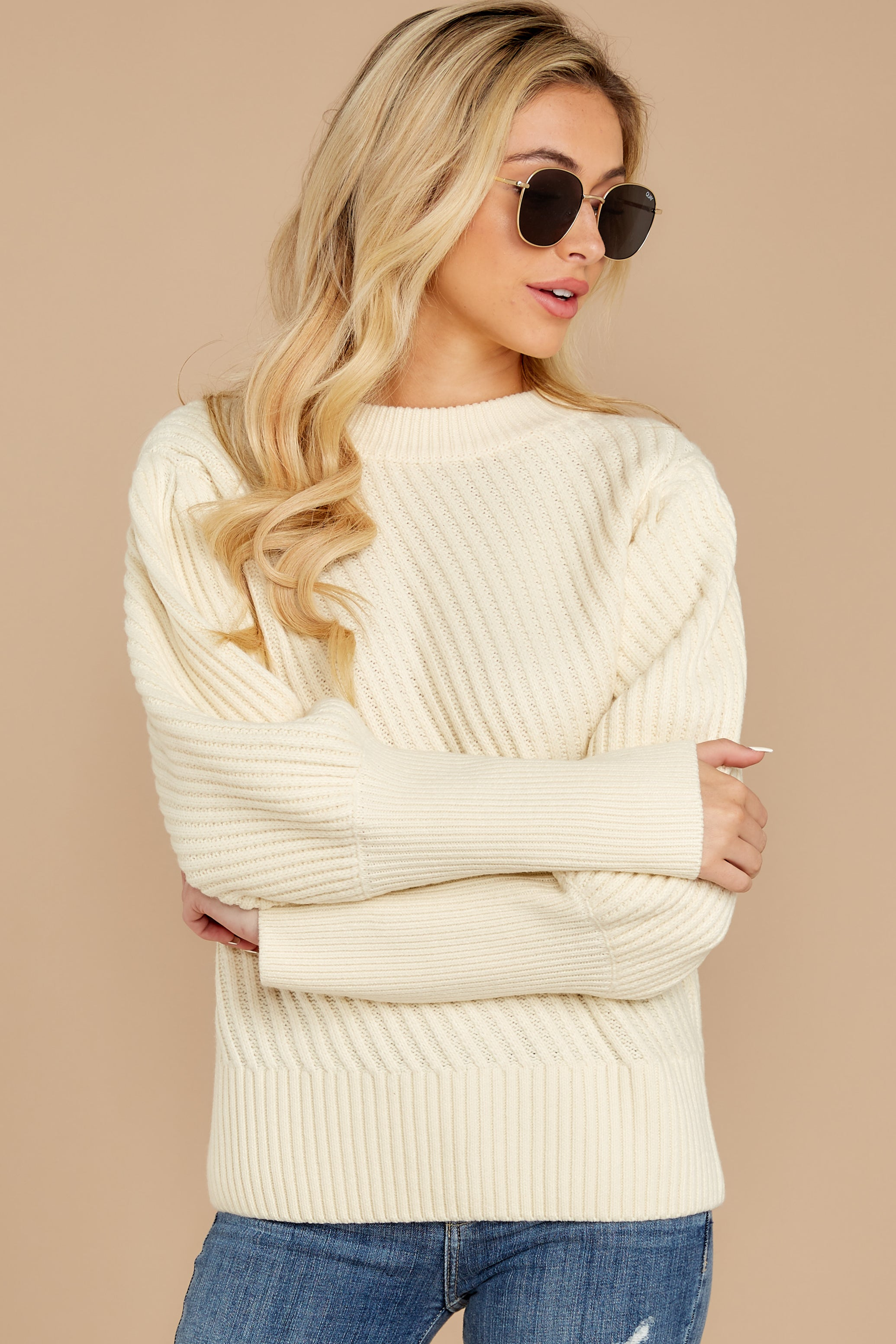 7 My Best Angle Ivory Sweater at reddressboutique.com