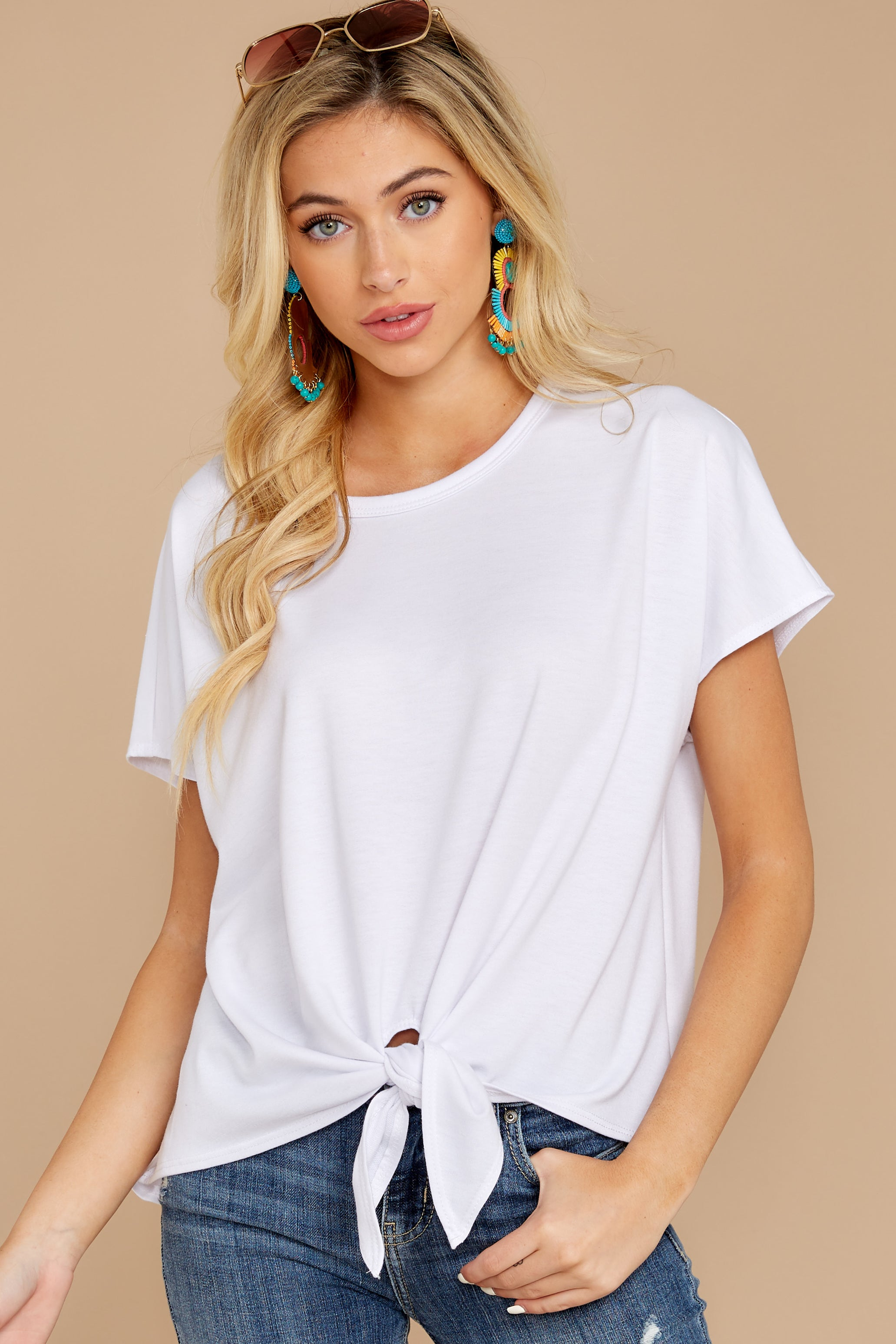 9 She's On The Move White Tie Top at reddressboutique.com