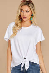 10 She's On The Move White Tie Top at reddressboutique.com