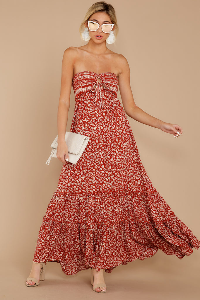 1 Forget Your Watch Rust Floral Print Maxi Dress at reddressboutique.com