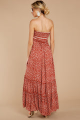 8 Poetic Poise Rust Print Maxi Dress at reddressboutique.com
