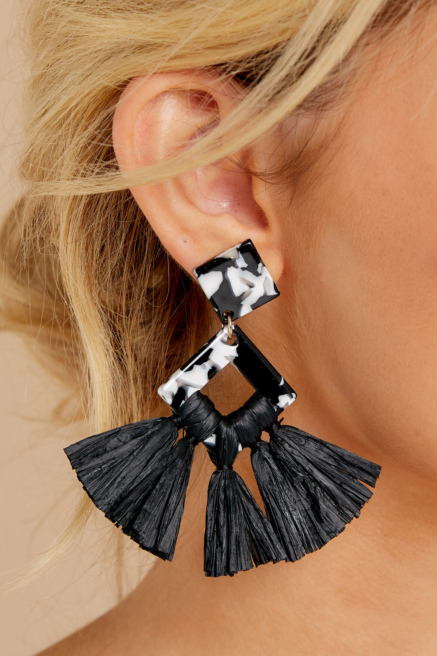 1 Theory Of Everything Black Earrings at reddressboutique.com
