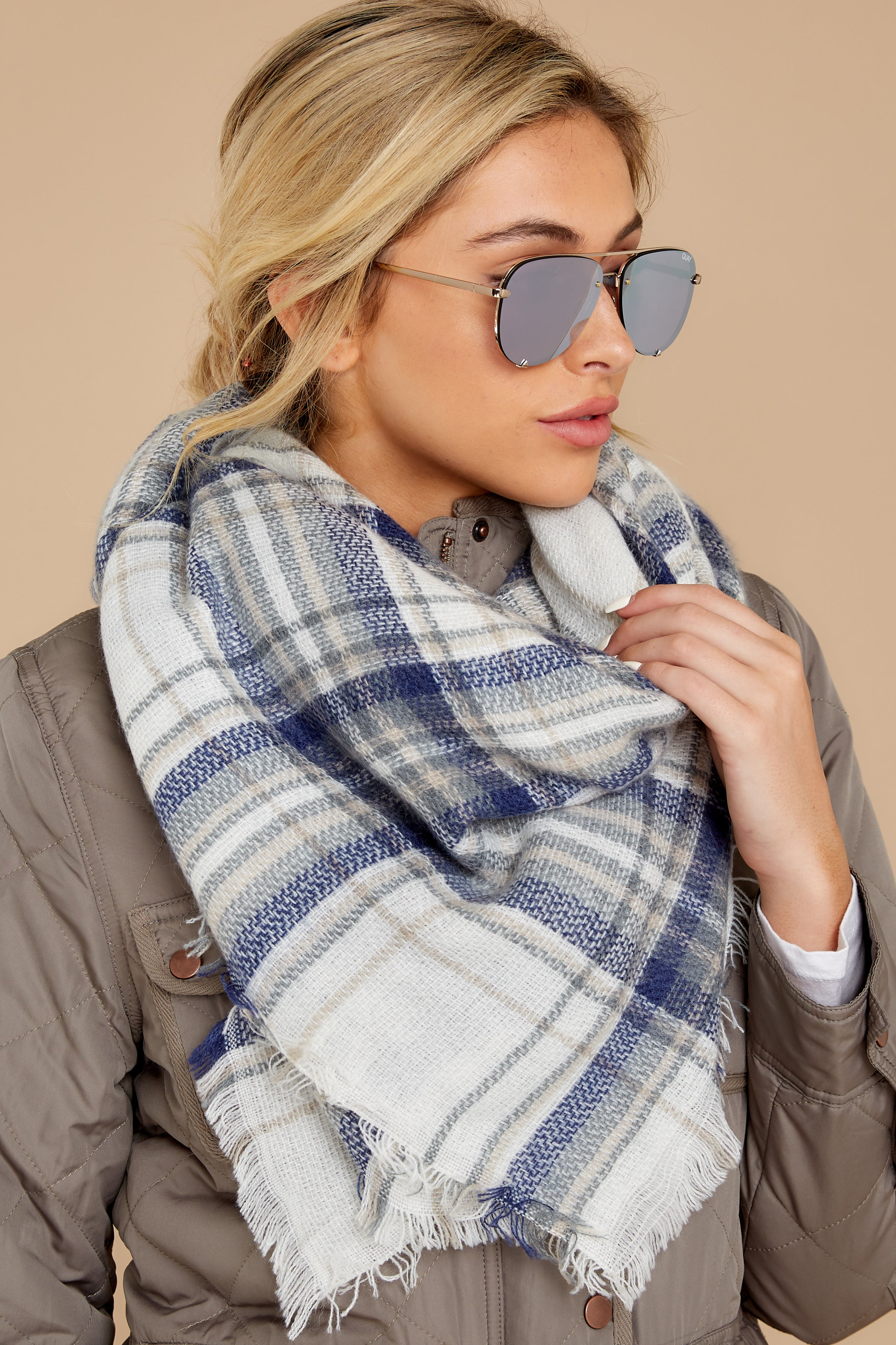 1 Right For You Blue Multi Plaid Scarf at reddressboutique.com