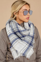 2 Right For You Blue Multi Plaid Scarf at reddressboutique.com