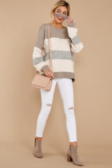 3 Better Off Taupe Multi Sweater at reddressboutique.com