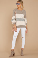 2 Better Off Taupe Multi Sweater at reddressboutique.com