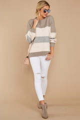 4 Better Off Taupe Multi Sweater at reddressboutique.com