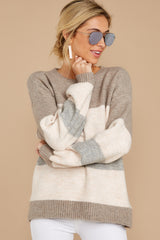 5 Better Off Taupe Multi Sweater at reddressboutique.com