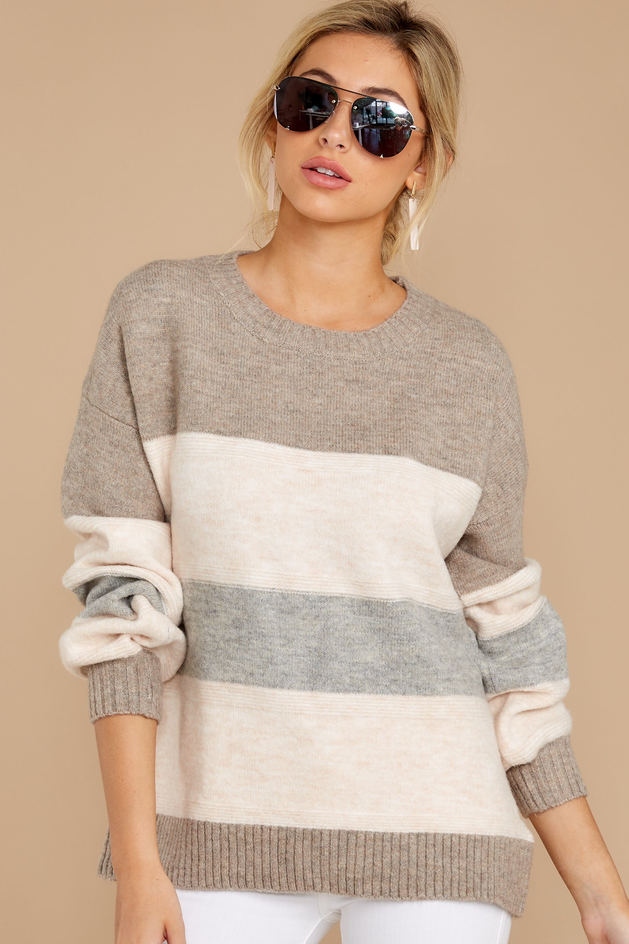 7 Better Off Taupe Multi Sweater at reddressboutique.com