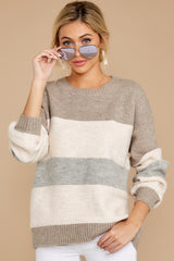 6 Better Off Taupe Multi Sweater at reddressboutique.com