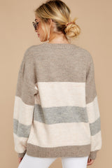 8 Better Off Taupe Multi Sweater at reddressboutique.com