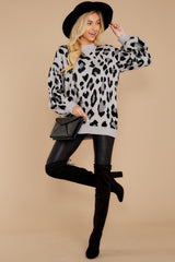 2 Stalk The Trend Grey Leopard Print Sweater at reddressboutique.com