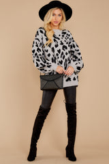 3 Stalk The Trend Grey Leopard Print Sweater at reddressboutique.com