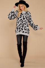 4 Stalk The Trend Grey Leopard Print Sweater at reddressboutique.com