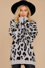 6 Stalk The Trend Grey Leopard Print Sweater at reddressboutique.com
