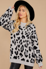 5 Stalk The Trend Grey Leopard Print Sweater at reddressboutique.com