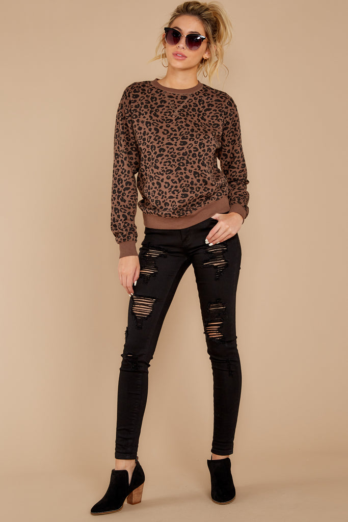 1 Stalk The Trend Grey Leopard Print Sweater at reddressboutique.com
