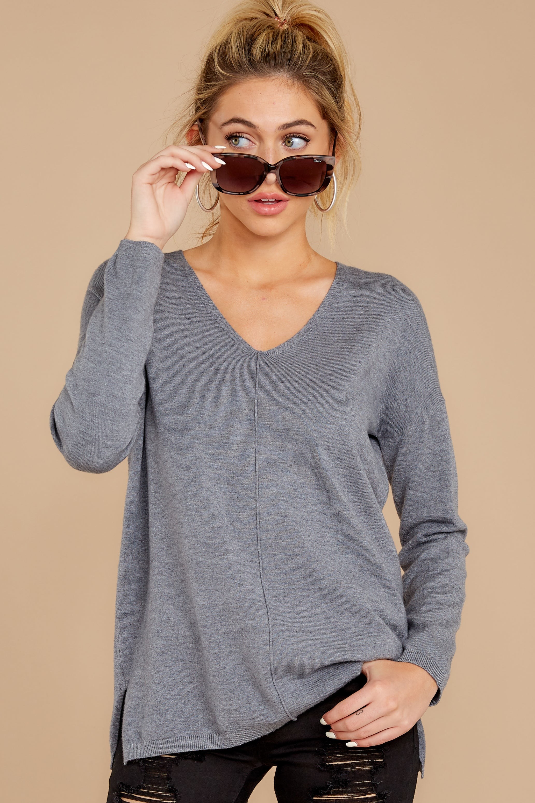 5 Give It A Rest Charcoal Grey Sweater at reddressboutique.com