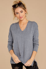 7 Give It A Rest Charcoal Grey Sweater at reddressboutique.com