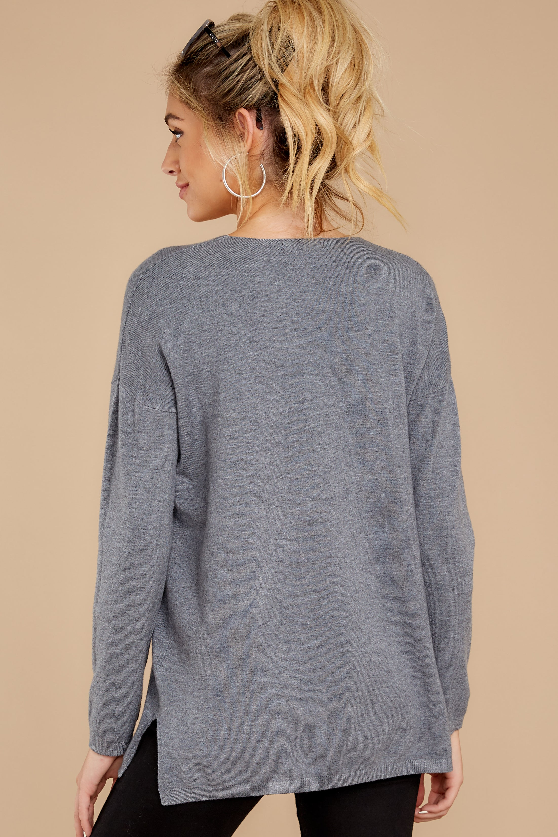 8 Give It A Rest Charcoal Grey Sweater at reddressboutique.com