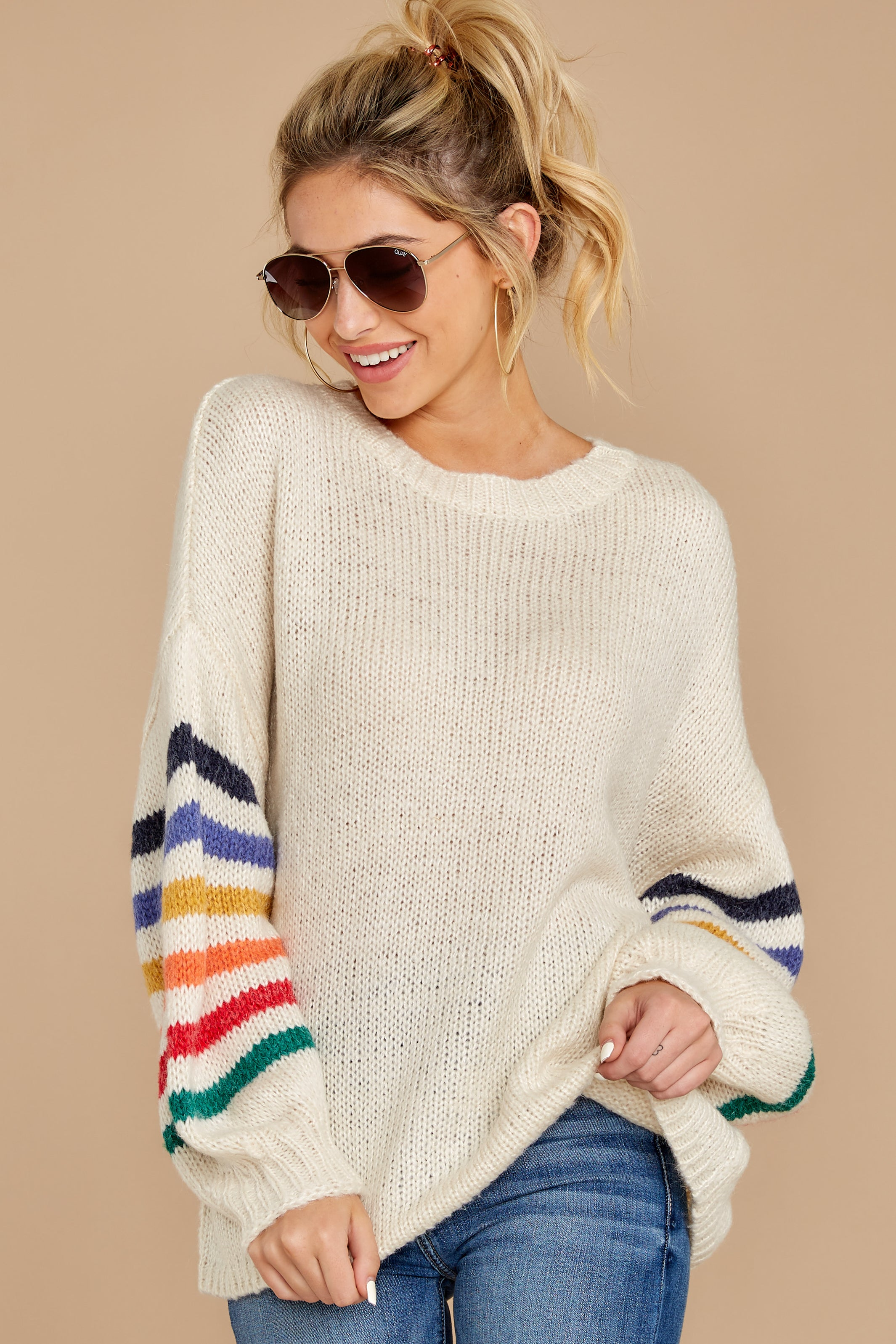 5 Out Of The Ordinary Cream Multi Stripe Sweater at reddressboutique.com