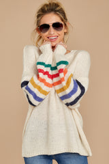 6 Out Of The Ordinary Cream Multi Stripe Sweater at reddressboutique.com