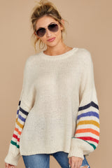 7 Out Of The Ordinary Cream Multi Stripe Sweater at reddressboutique.com