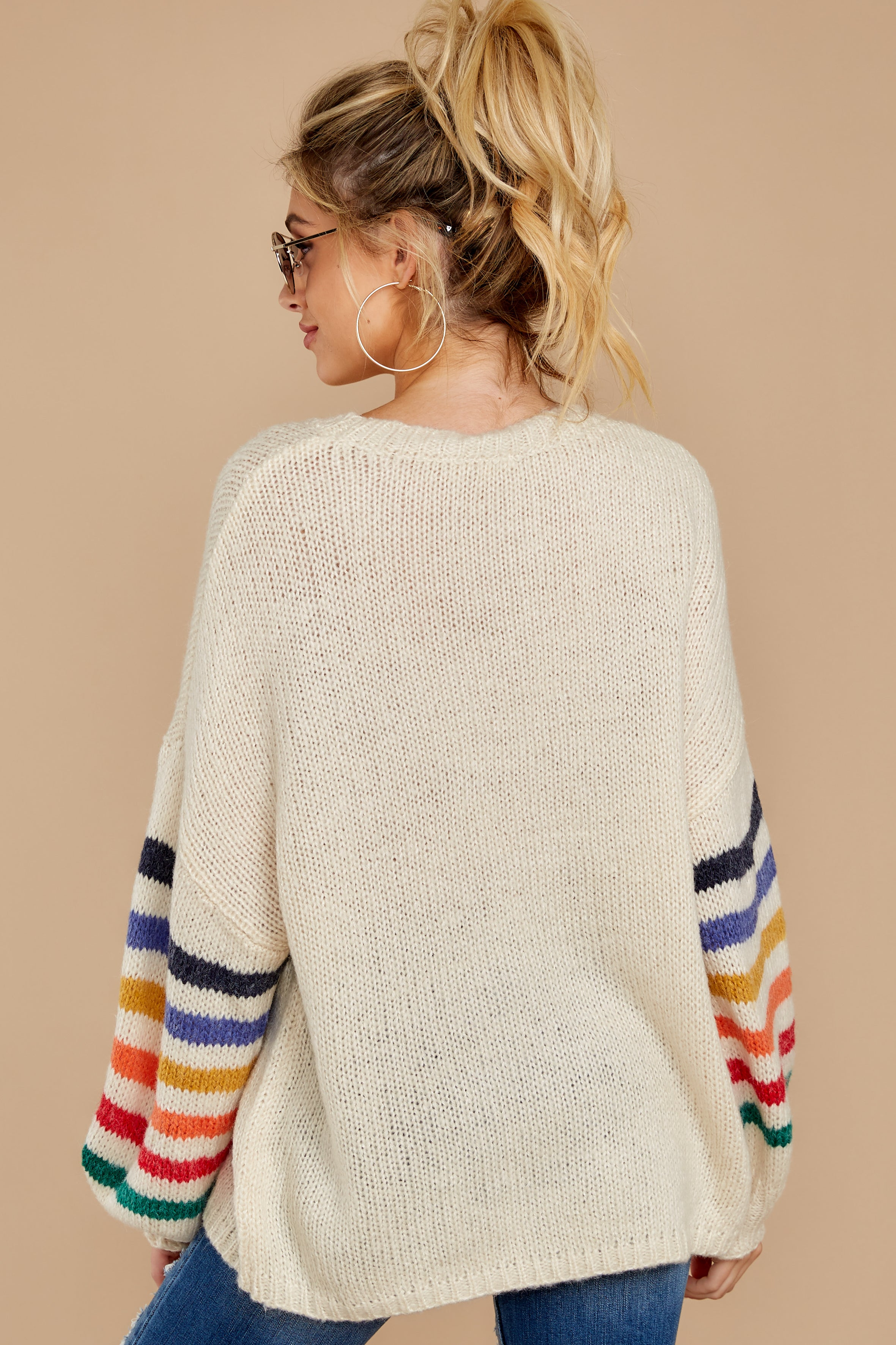 8 Out Of The Ordinary Cream Multi Stripe Sweater at reddressboutique.com