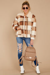 2 Before You Leave Brown Multi Plaid Jacket at reddressboutique.com
