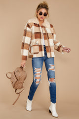 1 Before You Leave Brown Multi Plaid Jacket at reddressboutique.com