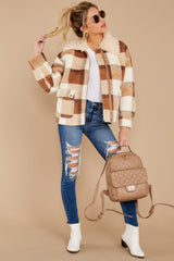 4 Before You Leave Brown Multi Plaid Jacket at reddress.com