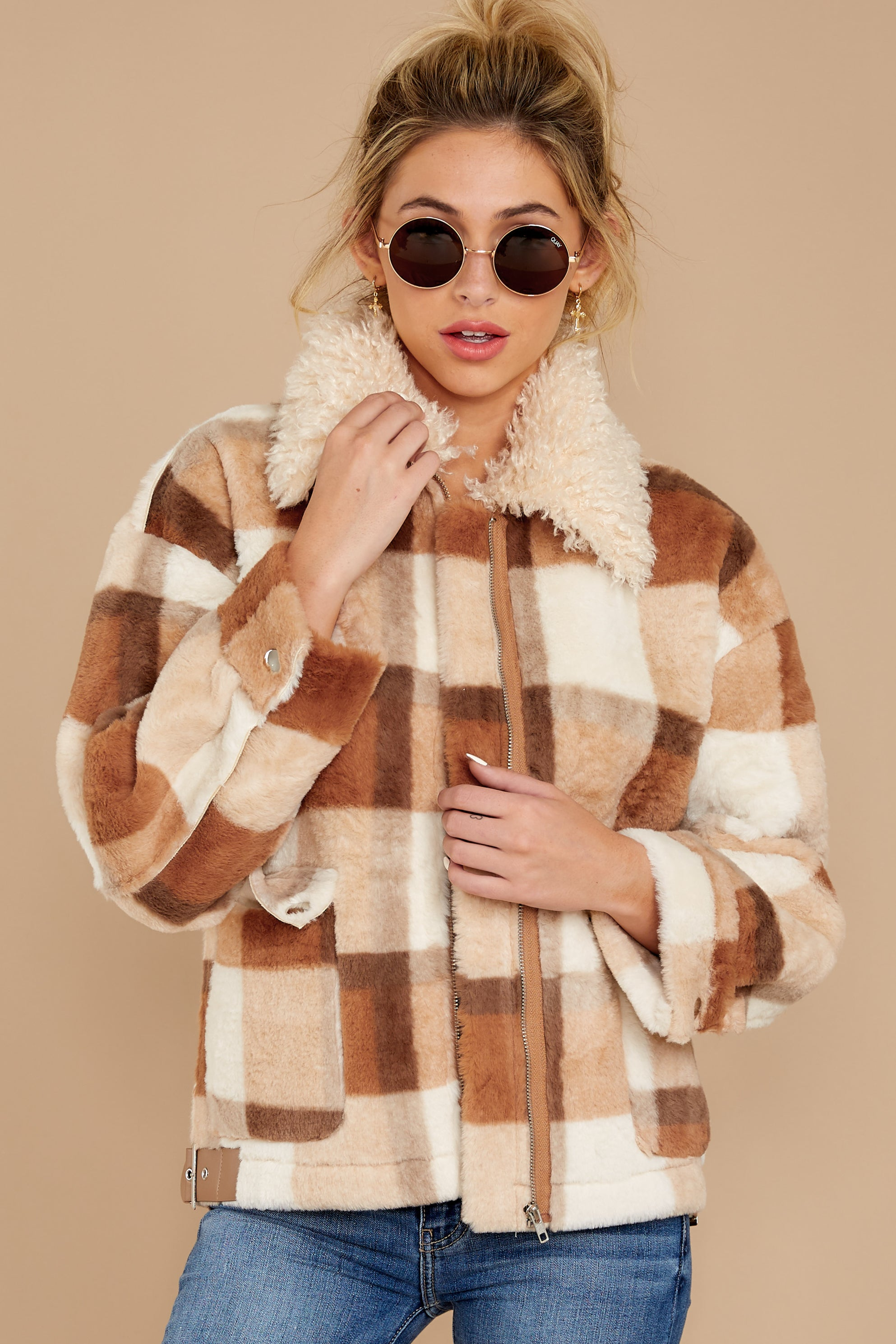 2 Before You Leave Brown Multi Plaid Jacket at reddress.com