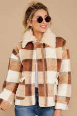 6 Before You Leave Brown Multi Plaid Jacket at reddressboutique.com