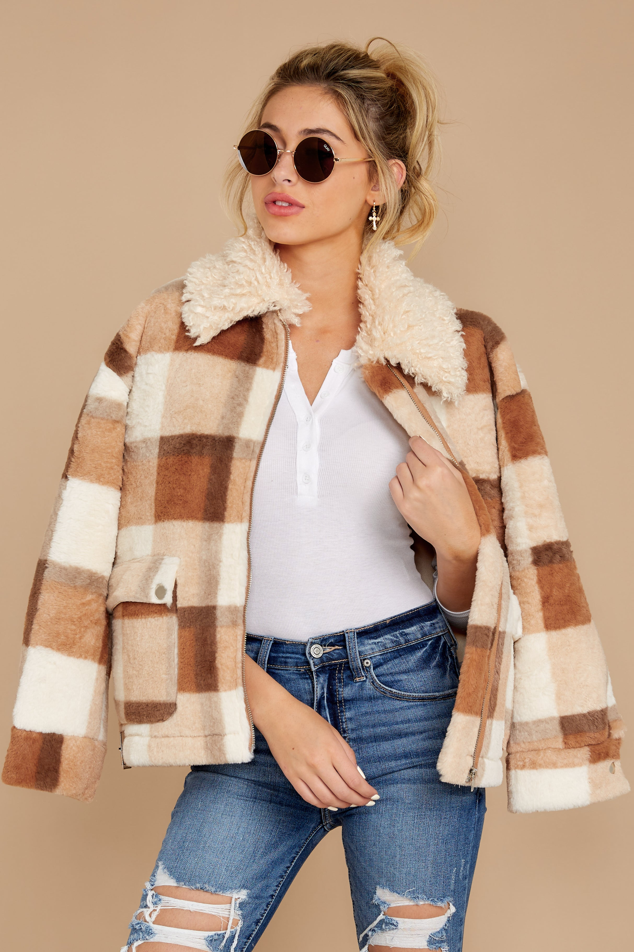 5 Before You Leave Brown Multi Plaid Jacket at reddress.com